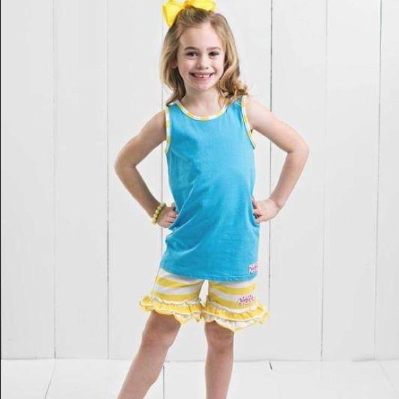 Ruffle Girl Blue & Yellow/White Ruffle Shortie Set